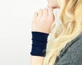 Wrist Cuff Bracelet, Bands Stretch Cuffs, Navy Blue Long Wide Arm Wristband, Jersey Wrist Tattoo Cover Up, Fabric Jewelry Gift Her Sweat