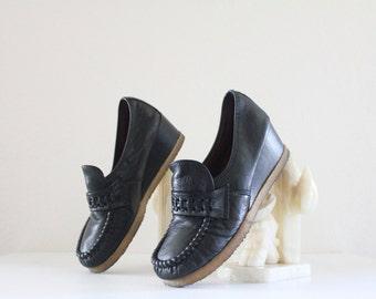 Vintage 70's Black Leather Wedge Heels Sz 7