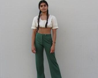 Vintage green trousers  90s stretcht pants High waist slacks