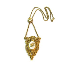 Edwardian Necklace Etruscan Necklace Etruscan Jewelry Victorian Jewelry Yellow Rose Jewelry Antique Jewelry Ornate Gifts For Her Mom Friend
