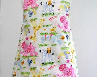 Girls Dress Girls Reversible A line Pinafore Pinny Jumper Ladybirds Elephants Giraffe Zebra