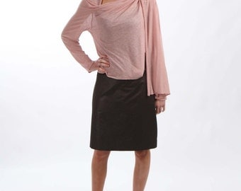 Light Weight Semi-Sheer Wrap Top with Loose Front Opening - Made From Old Fashion Pink Viscose Knit Jersey Fabric