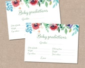 Baby Predictions Game Floral Watercolour Cards – Baby Shower – Digital file – Print at home