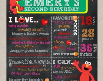 Elmo Birthday Chalkboard Poster, First Birthday, Second Birthday, Milestone Chalkboard, Photo Prop, Elmo's World, Red Pink Orange Elmo Party