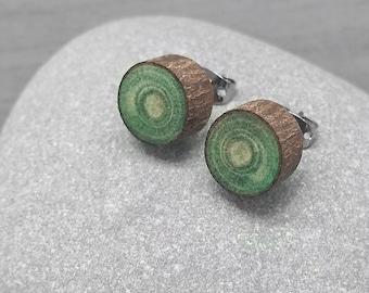 Green Wood Slice Stud Earrings - Bark Earrings - Hardwood Faux Plug Fake Gauge Post Earrings with Surgical Steel posts