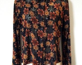 Black Orange Floral Sunflower Daisy Print Sheer Burnout Button Shirt Garage Psych Punk Goth