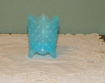 Fenton Hobnail TOOTHPICK Tooth Pick Holder blue aqua Glass opalescent opal antique