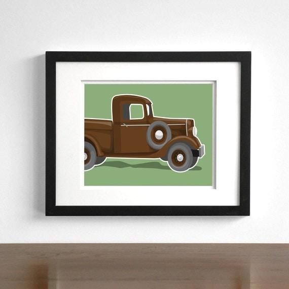 Childrens wall art Vintage Truck wall art - Chevy step side retro truck prints - pick your colors - transportation art, boys wall art