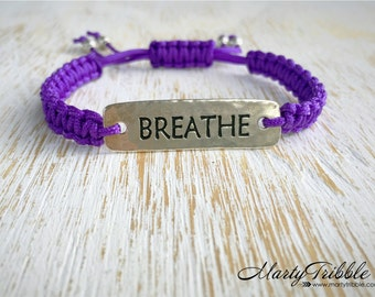 Purple Breathe Bracelet, Yoga Bracelet, Shamballa Bracelet, Woven Breathe Bracelet, Yoga Jewelry, Adjustable Vegan Bracelet, Breathe Jewelry