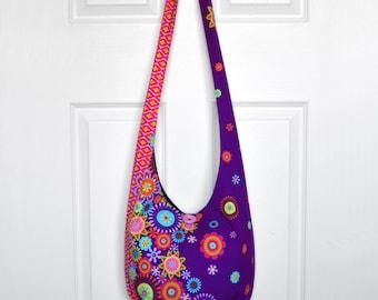 Hobo Bag Hippie Purse Crossbody Bag Sling Bag Hippie Bag Boho Bag Bohemian Purse Hobo Purse Slouchy Bag Floral Fabric Bag Gypsy Purse Hobo