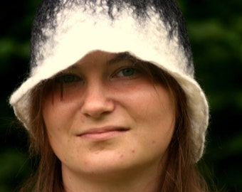 cloche hat - art deco hat - felted hat - wool hat - 1920' - felt hat - flapper hat - felted head wear
