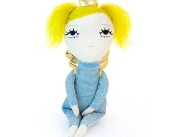 Winged doll, cute doll, ragdoll, fabric doll, soft art doll, stuffed doll, designer toy, plush doll, plushie, cloth doll, embroidered doll