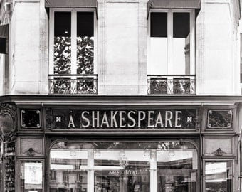 Paris Photograph, The Shakespeare Armorial, Black and White Photo, Paris Stationery Shop, Large Wall Art, Travel Fine Art Photograph