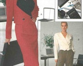 PATTERN Vogue 7649 Double breasted cropped shaped hemline jacket with straight skirt and pleated pants Size 18-20-22 (uncut)