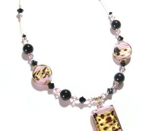 Murano Glass Pink leopard Rectangle Pendant Necklace, Venetian Glass Necklace, Italian Glass Jewelry, Lampwork Glass Necklace, Gift idea