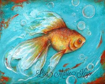 Bathroom Wall Art - Goldfish - Bathroom Art - Office Art -  Gold Fish Art Print - Wall Art - Fish Art Print - Wall Art - Lisa Marie Keys