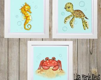 Ocean Wall Decor ~ Beach House Art ~ Ocean Theme ~ Sea Life Art ~ Nautical Art ~ Whimsical Sea Creatures ~ Sea Turtle ~ SeaHorse ~ Sea Crab