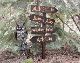 Harry Potter Inspired Lawn Ornament Sign - Hogwarts Diagon Alley Azkaban Forbidden Forest Fantasy Movie Decoration Cedar Wood Holiday Decor