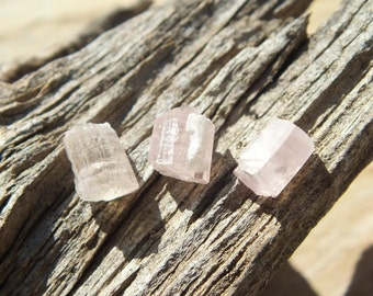 Pink Tourmaline Crystals, x3, Small, High Grade, Untreated Rocks, Raw Rough, Stones Minerals x3, Afghanistan, 1.3g 6-7mm PEACE (73-240)