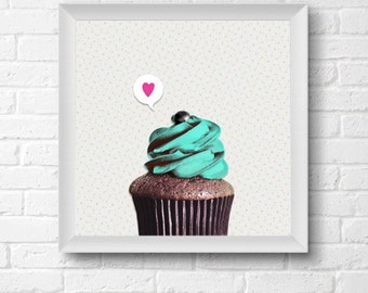 Cupcake print / turquoise & pink pop art / kitchen decor / nursery decor / food photography / cupcake art print