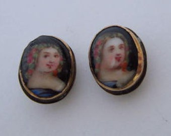 Antique Memento Mori Mourning Portrait Cufflinks