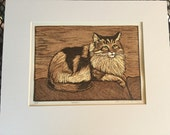 Maine Coon Cat Block Print
