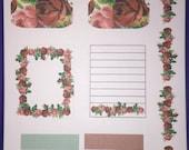 Vintage Rose sticker set #1- planner diary scrapbook school books- week theme-OVER 10 stickers - erin condren - filofax