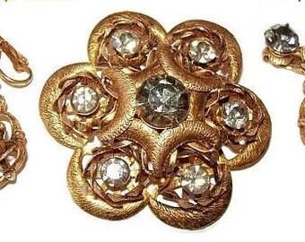 Crescent Brooch Clip On Earring Demi Set Smoke Rhinestones & Gold Metal Vintage High End