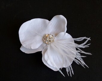 White Bridal Hair Flower, Bridal Orchid Hair Piece, Orchid Hair Flower, Bridal Orchid Headpiece, Wedding Hair Accessories, Wedding Orchid