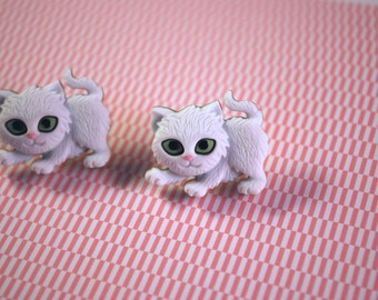 White Cat Earrings -- White Cat Studs, Cat jewelry
