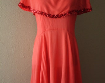Vintage 1940's Red Crepe Chiffon Patio Style Dress