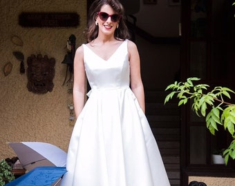 50s Wedding Dress with Pockets Tea-length Wedding Dress Simply Wedding Dress Bohemian Wedding Dress Vintage wedding dress Boho wedding dress