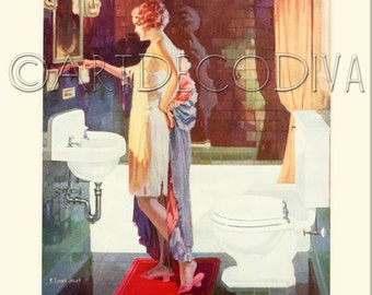 Vintage 1920's ART DECO Beauty Flapper Girl BATHROOM Sink Toilet Tub Bath Decorating Advertising Poster Fine Art Print