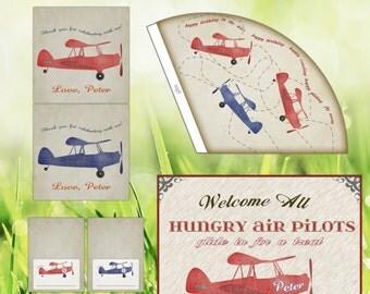 Airplane Birthday Party Set - Navy Orange Red - vintage - digital
