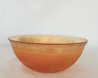 Bowl Holds 5 Cups Amber Prism and Marigold Floral Garland Imperial Glass