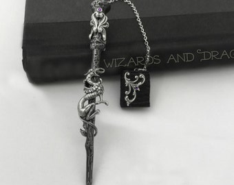 Dragon Wizarding Wand  / Leather jeweled Book locket Bookmark or Ornament, Gift for Reader