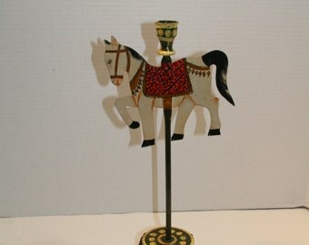 Folk Art Carosel Horse Candle Holder