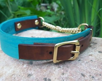 The Rohirrim Collar: Teal & Timber Adjustable Leather Martingale Dog Collar