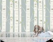 Birch Tree Wallpaper in Blue | Self Adhesive Wallpaper | Easy Removable Wallpaper | Woodland Baby Nursery or Children's Room | W1048