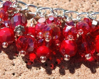 HEART ATTACK RED Vivid Red and Silver Charm Bracelet ooak