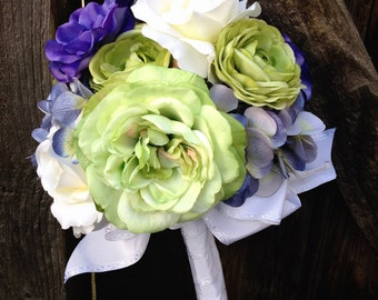 Purple & Green Silk Bridal Bouquet with Cabbage Roses, Hydrangea, Ranunculus and Anemone in Shades of Violet, Lavender, Lime