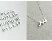 Heart Initial Necklace, Silver Lowercase Initial Necklace, Monogram Necklace, Name Necklace, Personalized Jewelry, Bridal Gift