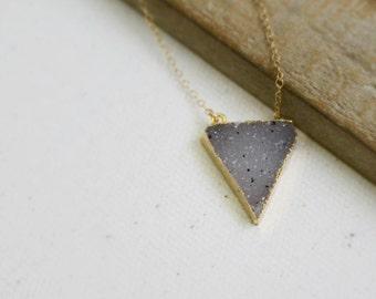 Natural Triangle Druzy Necklace, Gold Druzy Necklace, 14k Gold Filled Chain, Triangle Druzy Pendant Necklace, Drusy Jewelry