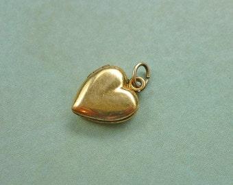 30% OFF Antique Locket Charm - Victorian Gold Heart Locket Pendant Charm - Marked 1/20 12k GF GP