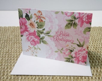 Personalized Pink Stationery Set, Personalized Note cards, Set of 12 folded note cards and envelopes.
