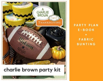 Charlie Brown Party Kit: Charlie Brown Thanksgiving Party Plan eBook + Charlie Brown Fabric Bunting + Peanuts Party + Thanksgiving Party