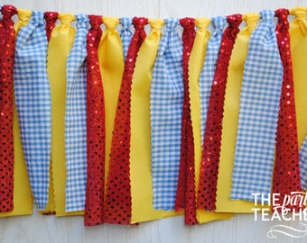 Wizard of Oz Fabric Bunting - FREE Shipping - Wizard of Oz Fabric Garland - Wizard of Oz Bunting - Wizard of Oz Garland - Wizard of Oz Party
