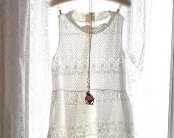 Boho Bohemian Gypsy Romantic White lace Victorian high collar Sleeveless  Dress Women Sundress Angel