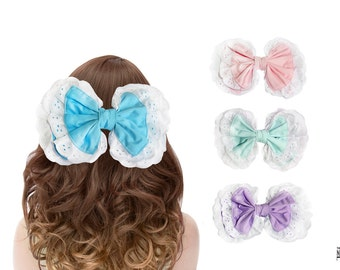 Large Lolita Hair Bow Cotton and White Broderie Anglaise Trim Barrette in Mint, Lilac, Sky Blue and Pink