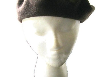 French Beret Chocolate Brown Wool Made in France